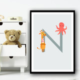 Animal Collection Letter N Children's Kids Wall Art Print