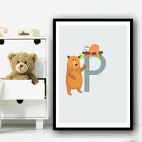 Animal Collection Letter P Children's Kids Wall Art Print