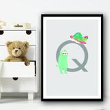 Animal Collection Letter Q Children's Kids Wall Art Print