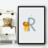 Animal Collection Letter R Children's Kids Wall Art Print