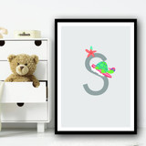 Animal Collection Letter S Children's Kids Wall Art Print