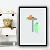 Animal Collection Letter T Children's Kids Wall Art Print