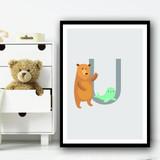 Animal Collection Letter U Children's Kids Wall Art Print