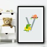 Animal Collection Letter V Children's Kids Wall Art Print