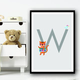 Animal Collection Letter W Children's Kids Wall Art Print