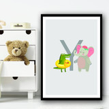 Animal Collection Letter Y Children's Kids Wall Art Print