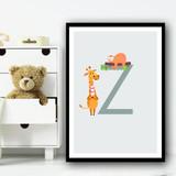 Animal Collection Letter Z Children's Kids Wall Art Print