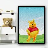 Winnie The Pooh Grunge Oil Children's Kids Wall Art Print