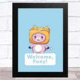 Lankybox Welcome Foxy Blue Children's Kids Wall Art Print