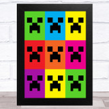 Minecraft Colour Creepers Children's Kids Wall Art Print