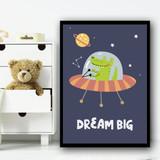 Astronaut Space Crocodile Children's Kids Wall Art Print