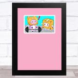 Lankybox Boxy & Foxy Pink Children's Kids Wall Art Print