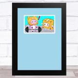 Lankybox Boxy & Foxy Blue Children's Kids Wall Art Print