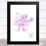 Mew Pokémon Splatter Art Children's Kids Wall Art Print