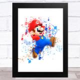 Super Mario Splatter Art Children's Kids Wall Art Print