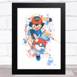 Ash Pokémon Splatter Art Children's Kids Wall Art Print