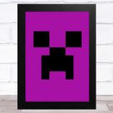 Minecraft Creeper Purple Children's Kids Wall Art Print
