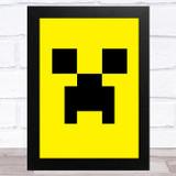 Minecraft Creeper Yellow Children's Kids Wall Art Print