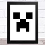 Minecraft Creeper White Children's Kids Wall Art Print