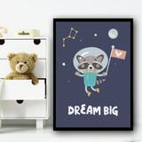 Astronaut Space Raccoon Children's Kids Wall Art Print