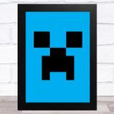 Minecraft Creeper Blue Children's Kids Wall Art Print