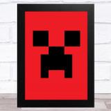 Minecraft Creeper Red Children's Kids Wall Art Print