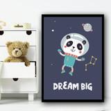 Astronaut Space Panda Children's Kids Wall Art Print