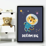 Astronaut Space Tiger Children's Kids Wall Art Print