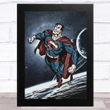 Superman Vintage Blue Children's Kids Wall Art Print