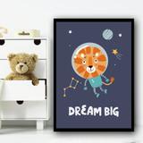 Astronaut Space Lion Children's Kids Wall Art Print