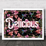 Pink Tropical Orchid & Hummingbirds Gothic Typography Delicious Wall Art Print