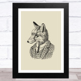 Vintage Black Fox In Suit Illustration On Olive Green Home Wall Art Print