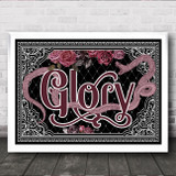 Typography Gothic Black Snake Roses Glory Home Wall Art Print