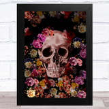 Skull With Flowers Pinks Purples Gothic Home Wall Art Print