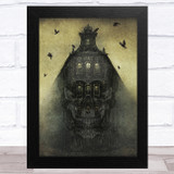 Skull With Old House And Ravens Gothic Home Wall Art Print