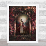 Gothic Floral Arch Woman With Wolf Home Wall Art Print