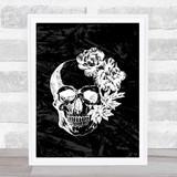 Black & White Skull Flowers Gothic Home Wall Art Print