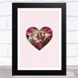 Geometric Heart On Pink Background Home Wall Art Print