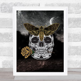 Moth On Skull Holding Rose Gothic Home Wall Art Print
