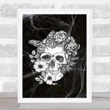 Flower Skull Black & White Gothic Home Wall Art Print