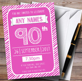 Pink & White Stripy Deco 90th Customised Birthday Party Invitations