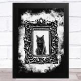 Black Cat In Frame Gothic Grunge Home Wall Art Print