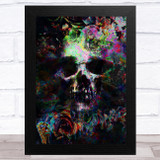 Colourful Gothic Skull Butterfly Home Wall Art Print