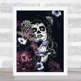 Sugar White Skull Flowers Gothic Home Wall Art Print