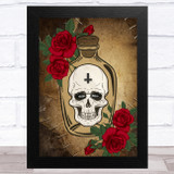 Skull In Jar Red Flowers Gothic Home Wall Art Print