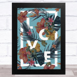 Love Word With Tropical Flowers Home Wall Art Print