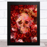 Skull With Flowers Gothic Reds Home Wall Art Print