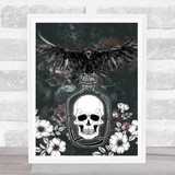 Raven On Jar With Skull Gothic Home Wall Art Print