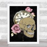 Skull Clock Pink Roses Gothic Home Wall Art Print
