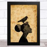 Raven On Women's Head Gothic Home Wall Art Print